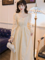 Dress Autumn 2020 Apricot rice S,M,L longuette singleton  Long sleeves commute square neck High waist Solid color Socket A-line skirt bishop sleeve Type A Splicing polyester fiber