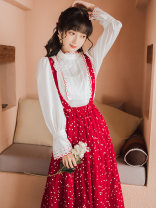 Fashion suit Autumn 2021 S,M,L,XL White top + Red Polka Dot strap skirt