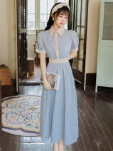 Dress Summer 2021 Light blue S,M,L,XL Short sleeve commute square neck High waist Solid color Single breasted Irregular skirt Type A Retro Button
