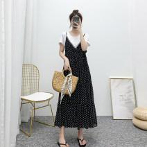 Dress Edge blue black M L XL XXL Korean version Short sleeve have more cash than can be accounted for summer Crew neck lattice Chiffon