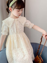 Dress Off white, pink female Other / other 120cm,100cm,130cm,110cm,140cm,150cm,160cm Other 100% summer Korean version Short sleeve Solid color cotton A-line skirt Class B Chinese Mainland Shanghai Shanghai