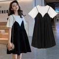 Dress Qimai Dress + black safety Pants Black M L XL XXL XXL enlarge XXXL Korean version Short sleeve Medium length summer Crew neck Solid color Pure cotton (95% and above)