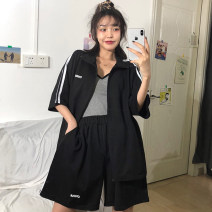 Women's large Summer 2020 Black and white Large M (suitable for 80-130 kg) large L (suitable for 130-165 kg) Large XL (suitable for 165-200 kg) Other oversize styles Two piece set commute easy moderate Cardigan Short sleeve Other letters Korean version stand collar routine cotton routine Daioli