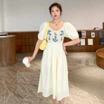Dress Summer 2021 Light goose yellow cream white M L XL XXL longuette singleton  Short sleeve commute Crew neck Loose waist Broken flowers Socket A-line skirt puff sleeve Oblique shoulder 18-24 years old Type A bamber  Korean version Open back embroidery and gouging Q2996 More than 95% other other