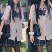 Women's large Summer 2021 Two piece shirt skirt S M L XL Dress Two piece set commute Straight cylinder Short sleeve Solid color Korean version Polo collar routine routine JK loser 5 Gu Jiafu 18-24 years old 81% (inclusive) - 90% (inclusive) Cotton 100% Pure e-commerce (online only)