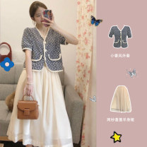 Women's large Summer 2020 Xiaoxiangfeng coat mesh skirt xiaoxiangfeng coat + mesh skirt S M L XL Dress Two piece set commute Short sleeve Korean version have cash less than that is registered in the accounts BK638*ilaK Gu Jiafu Medium length Other 100%
