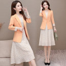 Dress Spring 2021 Orange white M L XL 2XL Mid length dress Two piece set three quarter sleeve commute tailored collar High waist Solid color A button A-line skirt routine Others 40-49 years old Van Romy Korean version Splicing F031613 More than 95% polyester fiber Other polyester 95% 5%