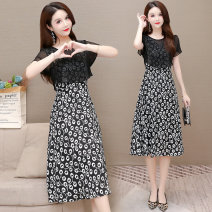 Dress Summer 2021 Flower Square L XL 2XL 3XL 4XL 5XL Mid length dress singleton  Short sleeve commute Crew neck middle-waisted Decor Socket A-line skirt routine Others 35-39 years old Type A Van Romy Korean version printing F040308 More than 95% polyester fiber Other polyester 95% 5%