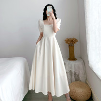 Dress Summer 2020 White, black, red S M L XL 2XL longuette singleton  Short sleeve commute square neck middle-waisted Solid color Socket A-line skirt puff sleeve Others 18-24 years old Type A Pu Aijia Retro White# More than 95% Chiffon other Triacetate fiber (triacetate fiber) 100%