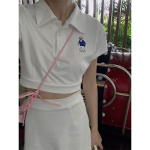 Fashion suit Summer 2021 S,M,L,XL Polo Shirt - white, skirt - white, suit - polo shirt + skirt G9A128731 96% and above cotton