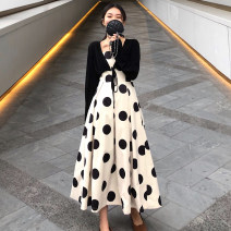 Women's large Summer 2020 Single apricot skirt apricot skirt + black coat single black coat 2XL 3XL 4XL M L XL Dress singleton  commute easy moderate Socket Sleeveless Dot Korean version One word collar other 4qUe2n Fan Shuyi 25-29 years old 96% and above longuette