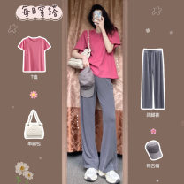 Women's large Summer 2021 Top [early spring 2021] / Summer spring and autumn clothing spring style fat sister Korean version] wide leg pants [wear gently] / Women's new 2021 / Cover the belly and show thin + Wide leg pants [Hong Kong style suit women's Retro chic] / Salt and sweet fashion suit. easy