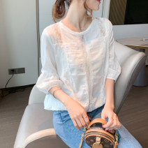 Lace / Chiffon Spring 2021 white S M L XL Long sleeves commute Socket singleton  Straight cylinder Regular Crew neck Solid color puff sleeve 25-29 years old lfOa Embroidery fold Korean version Other 100% Pure e-commerce (online only)