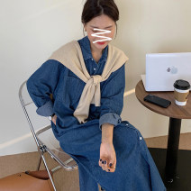 Dress Spring 2021 blue S M L Mid length dress Two piece set Long sleeves commute Polo collar Loose waist Solid color Single breasted other routine Others 18-24 years old Type H lfOa Korean version Pocket button L11408F More than 95% Denim other Other 100% Pure e-commerce (online only)