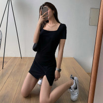 Dress Summer 2020 black S M L Short skirt singleton  Short sleeve commute square neck High waist Solid color Socket A-line skirt routine 25-29 years old Type A lfOa Retro Split L10566F More than 95% other Other 100% Pure e-commerce (online only)
