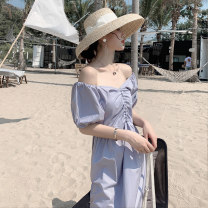 Dress Summer 2021 blue S M L XS Mid length dress singleton  Short sleeve commute Crew neck High waist Solid color Socket A-line skirt puff sleeve Others 25-29 years old Type A lfOa Korean version Open back fold More than 95% other Other 100% Pure e-commerce (online only)