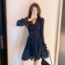 Dress Summer 2021 White Navy S M L XL Middle-skirt singleton  Long sleeves commute V-neck High waist Solid color Socket A-line skirt puff sleeve Others 25-29 years old Type A lfOa Korean version Pleated Auricularia auricula splicing L11974F-DY More than 95% Chiffon other Other 100%