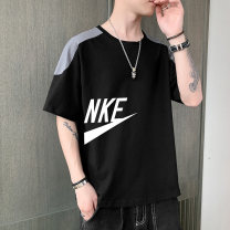 T-shirt Fashion City White, black routine M,L,XL,2XL,3XL,4XL Schnik / schnik elbow sleeve Crew neck easy Other leisure summer ZL630 Cotton 100% middle age Basic public 2021 Solid color printing cotton No iron treatment More than 95%