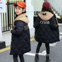 Cotton padded jacket female No detachable cap Cotton 96% and above Other / other Pink, black, purple 110cm,120cm,130cm,140cm,150cm,160cm,170cm thickening Single breasted Korean version There are models in the real shooting Solid color other Class B Crew neck Cotton 95% polyester 5% Cotton liner