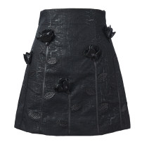 skirt Winter 2020 S,M,L black Short skirt commute High waist A-line skirt Solid color Type A 25-29 years old Denim polyester fiber zipper