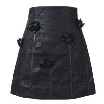 skirt Winter 2020 S,M,L black Short skirt commute High waist A-line skirt Solid color Type A 25-29 years old Denim polyester fiber zipper