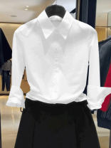 shirt White black dark blue rose red S/2 M/3 L/4 XL/5 XXL/6 Spring 2021 modal  31% (inclusive) - 50% (inclusive) Long sleeves Versatile Regular Polo collar Single row multi button shirt sleeve Solid color 25-29 years old Manetti 1300042-1030711-001 Pure e-commerce (online only) Brocade cotton