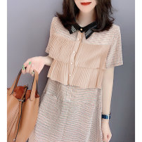 Dress Summer 2020 Graph color S M L XL Mid length dress singleton  Short sleeve commute square neck middle-waisted Solid color Socket routine Others 30-34 years old Concubine Korean version BB202v10862p0102 81% (inclusive) - 90% (inclusive) polyester fiber Polyester 85% other 15%