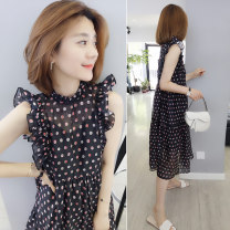 Dress Summer 2020 black S M L Mid length dress singleton  Short sleeve commute Crew neck Loose waist Dot Socket other other Others 30-34 years old Concubine Korean version More than 95% polyester fiber Polyester 100% Pure e-commerce (online only)
