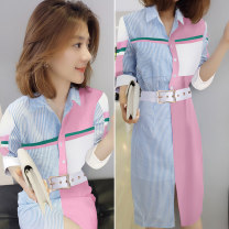 Dress Spring 2020 Color matching S M L Mid length dress singleton  Short sleeve commute Polo collar middle-waisted other routine Others 30-34 years old Concubine Korean version B191y02197p01014 51% (inclusive) - 70% (inclusive) polyester fiber Polyester 65.7% cotton 34.3%