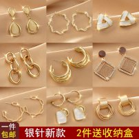 Ear Studs Alloy / silver / gold plating 1.00-9.99 yuan Black tone brand new Japan and Korea Female goods in stock Fresh out Love / water drop / bell HD2871  Spring 2021 No