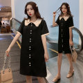 Dress Summer 2020 black M L XL XXL Middle-skirt singleton  Short sleeve commute Doll Collar Loose waist Solid color Socket Ruffle Skirt other Others 18-24 years old Dark vision Korean version GSADCVSDA15649810 More than 95% other Other 100% Pure e-commerce (online only)