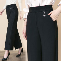 Casual pants Fine stripe wide stripe black 27 28 29 30 31 32 33 Autumn of 2019 trousers Wide leg pants High waist commute routine Man Ting Chun Simplicity pocket Cotton 45% polyester 30% polyurethane elastic 25% Pure e-commerce (online only)