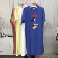 Dress Summer 2020 Brown, yellow, blue, white, pink Average size Middle-skirt Long sleeves Sweet Crew neck Solid color other routine 18-24 years old TXSG309504 30% and below other cotton