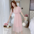Dress Summer 2020 Pink S,M,L,XL Mid length dress singleton  Short sleeve commute V-neck Elastic waist Dot Single breasted A-line skirt Flying sleeve Others Type A Korean version Auricularia auricula, stitching, button 81% (inclusive) - 90% (inclusive) Chiffon Chloroprene