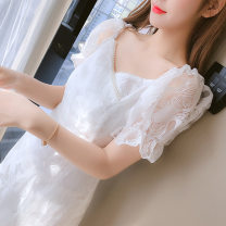 Dress Summer 2021 white S,M,L,XL,2XL Middle-skirt singleton  Short sleeve commute V-neck middle-waisted Solid color zipper Ruffle Skirt puff sleeve Others Type A Korean version Ruffles, folds, stitches, beads, zippers 81% (inclusive) - 90% (inclusive) Lace polyester fiber
