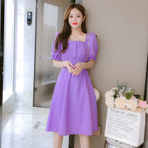 Dress Summer 2021 Light green, purple S,M,L,XL,2XL Middle-skirt singleton  Short sleeve commute square neck middle-waisted Solid color Socket A-line skirt puff sleeve Type A Korean version Pleating, stitching, buttons 81% (inclusive) - 90% (inclusive) brocade cotton