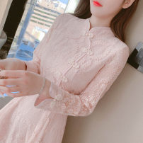 Dress Spring 2021 Apricot, pink S,M,L,XL,2XL Middle-skirt singleton  Long sleeves commute stand collar middle-waisted Solid color zipper A-line skirt routine Others Type A Retro Button, lace 91% (inclusive) - 95% (inclusive) Lace polyester fiber