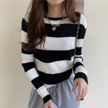 Wool knitwear Autumn 2020 S M L XL Red stripe, green stripe, black and white stripe, black and gray stripe Long sleeves singleton  Socket other More than 95% Regular routine commute Self cultivation Low crew neck routine stripe Socket Korean version 890470895-86204 18-24 years old Slave sink