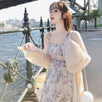 short coat Summer 2020 S M L XL Apricot Long sleeves Medium length Thin money singleton  easy commute pagoda sleeve V-neck Solid color 18-24 years old Yue Zhi CAI 96% and above 20200504-2 other Other 100% Pure e-commerce (online only)