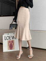 skirt Spring 2021 S M L XL Apricot black Mid length dress commute High waist skirt Solid color Type X 25-29 years old More than 95% Chiffon other zipper Korean version Other 100% Pure e-commerce (online only)
