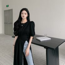 Lace / Chiffon Summer 2021 White black S M L Short sleeve commute Socket singleton  Straight cylinder Medium length Crew neck Solid color puff sleeve 25-29 years old Amatullah / amatullah 04-6379 Korean version Other 100% Pure e-commerce (online only)