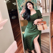Dress Spring 2021 L,XL,2XL,3XL Mid length dress singleton  commute square neck Socket A-line skirt other 18-24 years old Type A Cute cat Fold, zipper, print More than 95% other