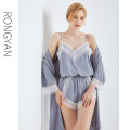 Pajamas / housewear set female Flame M (90-100kg) l (100-120kg) XL (120-135kg) Polyester (polyester) camisole sexy Leisure home summer Thin money V-neck Solid color shorts Tether youth 3 pieces rubber string More than 95% silk lace 2020-181191 200g and below Summer 2020 Pure e-commerce (online only)