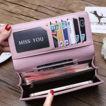 wallet Long Wallet PU Other / other Blue, pink, black, button grey, button blue brand new Europe and America Buckles Solid color 80% off Horizontal style youth Big money clip, photo position Clemence  polyester fiber soft surface