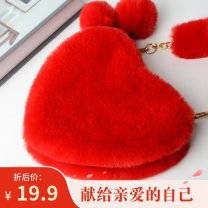 Bag handbag acrylic fibres Small round bun brand new Sweet Lady  in leisure time soft zipper yes Cartoon animation Single root nothing youth Crescent shape Soft handle synthetic leather