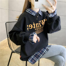 Women's large Spring 2021 M (suitable for 90-120 kg) l (suitable for 120-140 kg) XL (suitable for 140-160 kg) XXL (suitable for 160-180 kg) Sweater / sweater Fake two pieces commute easy thin Socket Long sleeves letter Korean version square neck routine polyester fiber printing and dyeing routine