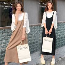Women's large Spring 2021 Black Khaki M L XL XXL Dress Two piece set commute easy Socket elbow sleeve Solid color Korean version Crew neck Medium length routine R8S4C3 Sharpness 18-24 years old Medium length Other 100% Pure e-commerce (online only)