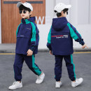 suit 10. P.w.beibei / little fat house Beibei Green off white 110cm 120cm 130cm 140cm 150cm 160cm male spring leisure time Long sleeve + pants 2 pieces routine There are models in the real shooting Socket No detachable cap Cartoon animation other children Expression of love Class C Other 100%
