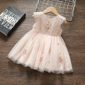 Dress Pink Blue female Longyi bear 80cm 90cm 100cm 110cm Other 100% summer princess Skirt / vest Broken flowers other A-line skirt Flying sleeve floral screen skirt other 12 months 9 months 18 months 2 years 3 years 4 years 5 years old