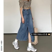 skirt Summer 2021 S L M XS Light blue and dark grey Mid length dress commute High waist Denim skirt Solid color Type A 18-24 years old More than 95% Small house woman shopping other Korean version Other 100%